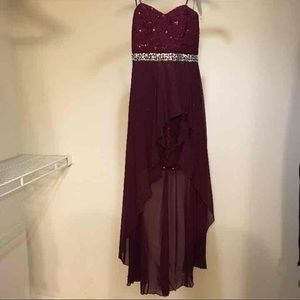 Strapless Homecoming Maroon Hi-Low Dress